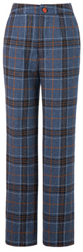Blue Plaid Overcheck Tweed Trousers Womens