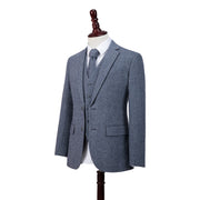 Grey Blue Herringbone Tweed  3 Piece Suit