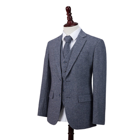 Grey Blue Barleycorn Tweed  3 Piece Suit