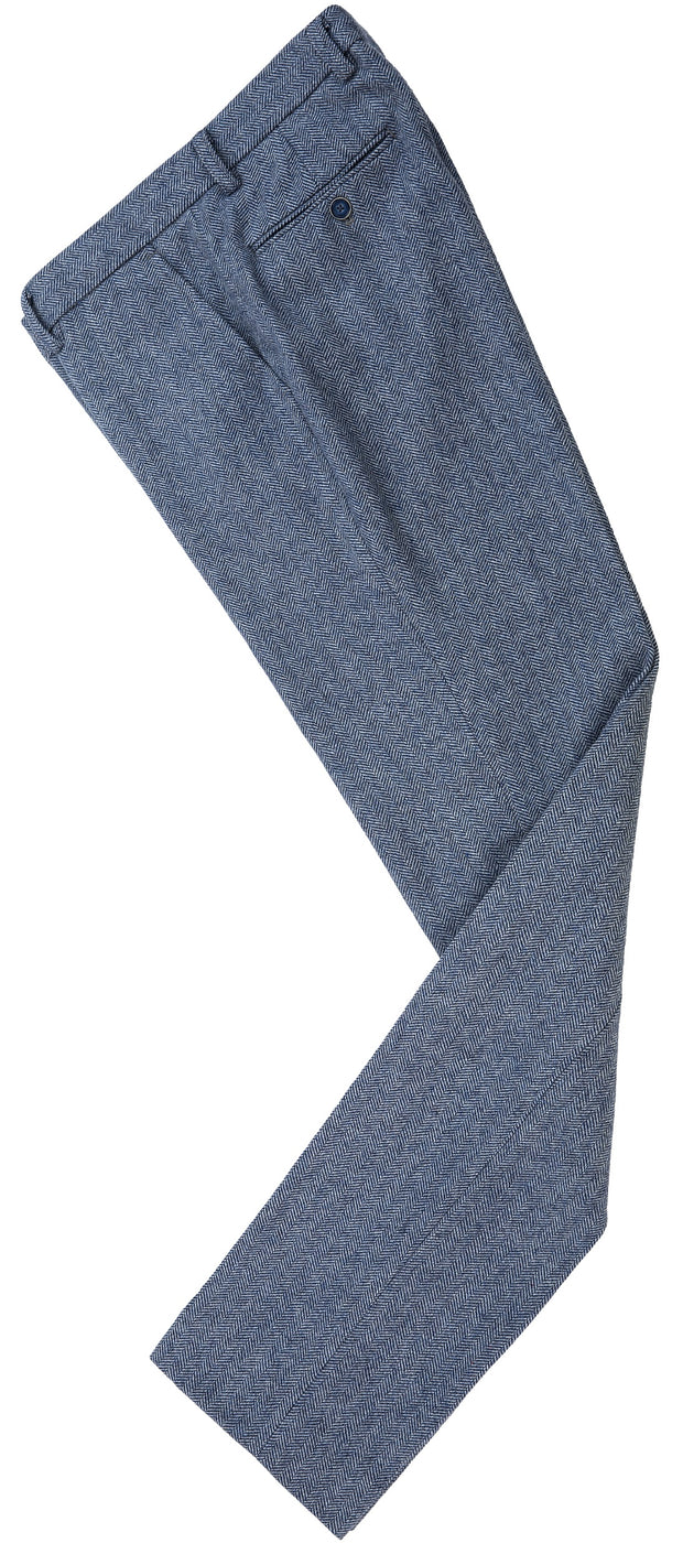 Grey Blue Herringbone Tweed Trousers