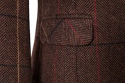 Brown Overcheck Twill Tweed Jacket Womens