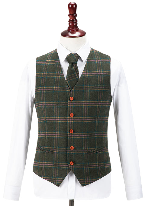 Green Windowpane Plaid Tweed Waistcoat