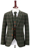 Green Windowpane Plaid Tweed Jacket