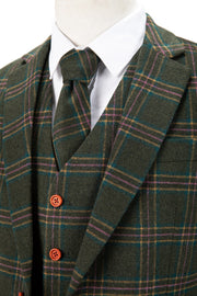 Green Windowpane Plaid Tweed  3 Piece Suit