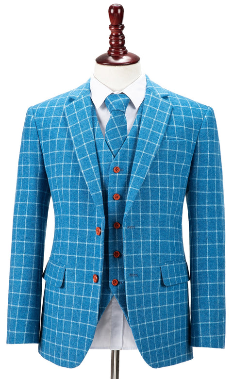 Sky Blue Windowpane Tweed  3 Piece Suit