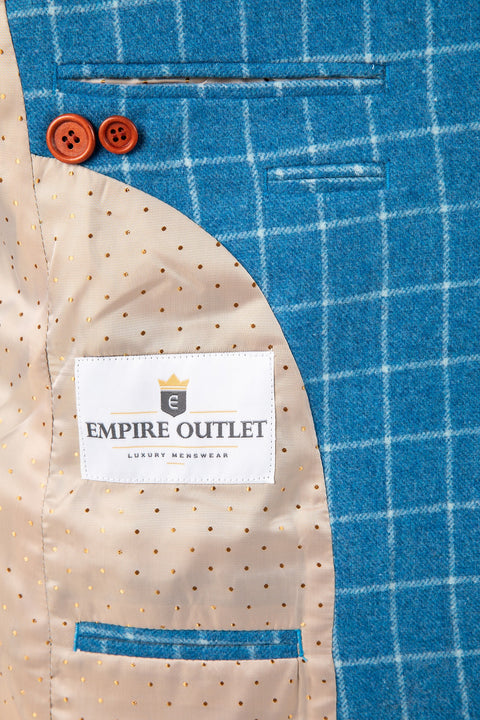 Sky Blue Windowpane Tweed Jacket