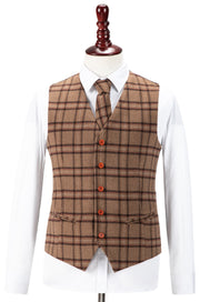 Light Brown Windowpane Plaid Tweed  3 Piece Suit
