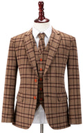 Light Brown Windowpane Plaid Tweed Jacket