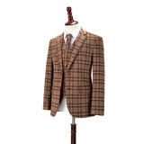 Light Brown Windowpane Plaid Tweed 3 Piece