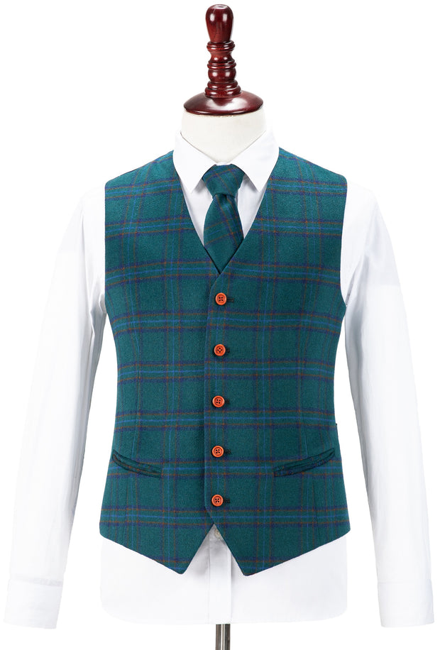 Teal Windowpane Plaid Tweed Waistcoat