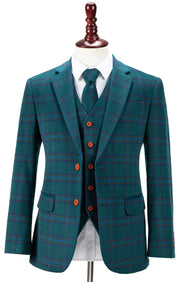 Teal Windowpane Plaid Tweed  3 Piece Suit