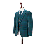 Teal Windowpane Plaid Tweed Jacket