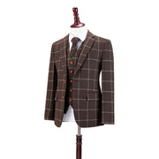 Dark Brown Tattersall Tweed  3 Piece Suit