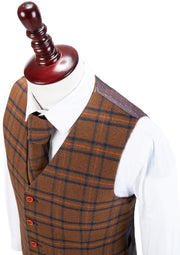 Chestnut Windowpane Plaid Tweed Waistcoat