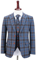 Blue Plaid Overcheck Tweed Jacket