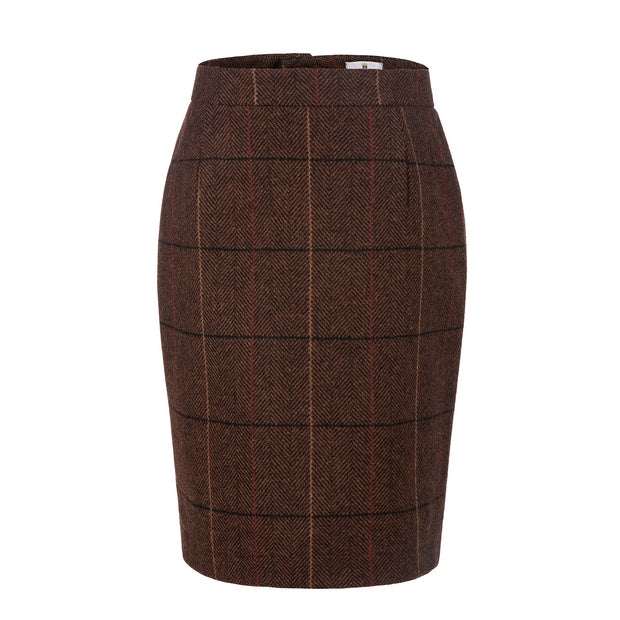 Brown Overcheck Twill Tweed Skirt Womens