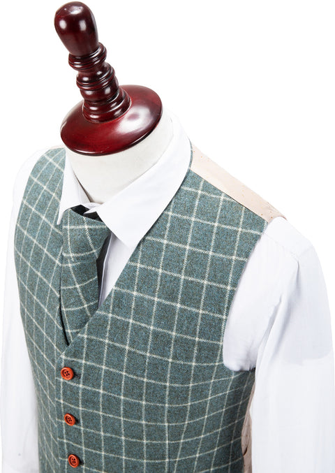 Light Green Windowpane Tweed Waistcoat
