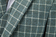 Light Green Windowpane Tweed