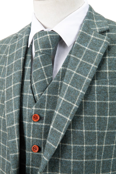 Light Green Windowpane Tweed Jacket