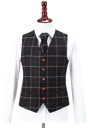 Black Tattersall Tweed  3 Piece Suit