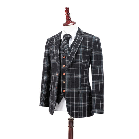 Black Plaid Overcheck Tweed Jacket