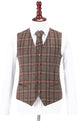 Brown Windowpane Plaid Tweed Waistcoat