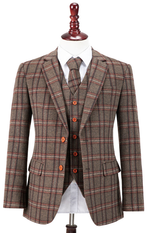 Brown Windowpane Plaid Tweed