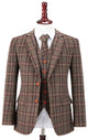 Brown Windowpane Plaid Tweed Jacket