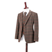 Brown Windowpane Plaid Tweed  3 Piece Suit
