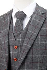 Grey Tattersall Tweed  3 Piece Suit