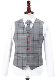 Light Grey Tattersall Tweed Waistcoat