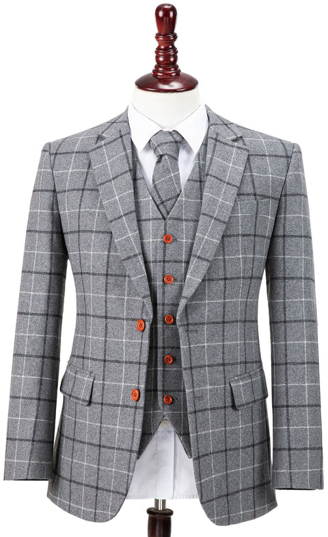 Light Grey Tattersall Tweed  3 Piece Suit
