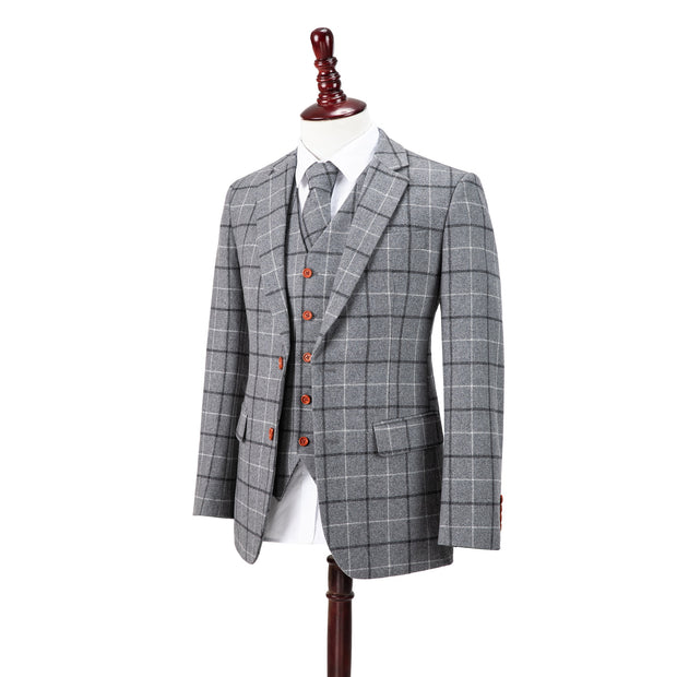 Light Grey Tattersall Tweed 2 Piece