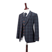 Charcoal Tattersall Tweed  3 Piece Suit