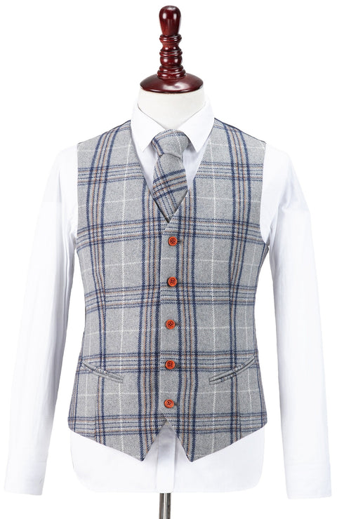 Light Grey Plaid Overcheck Tweed  3 Piece Suit