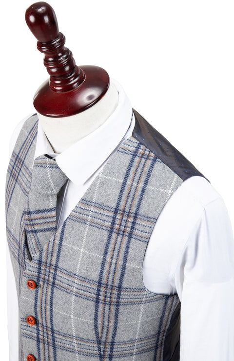 Light Grey Plaid Overcheck Tweed Waistcoat