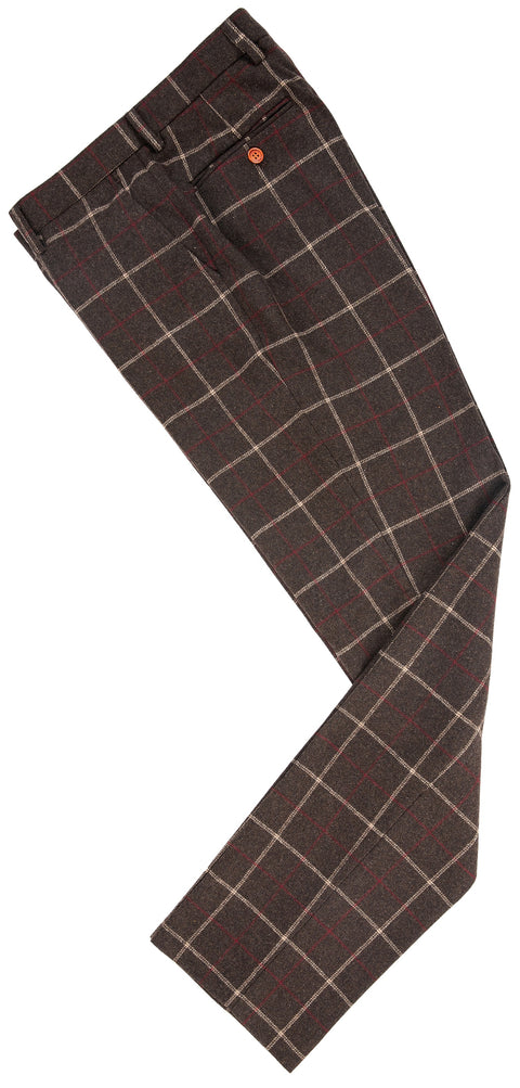 Dark Brown Tattersall Tweed Trousers