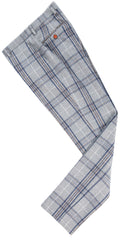 Light Grey Plaid Overcheck Tweed Trousers