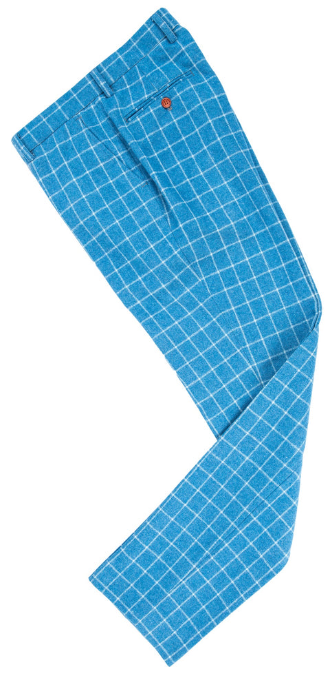 Sky Blue Windowpane Tweed Trousers