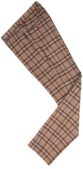 Light Brown Windowpane Plaid Tweed Trousers