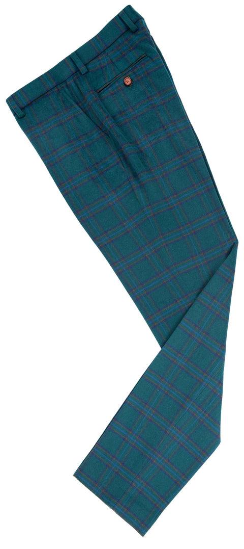 Teal Windowpane Plaid Tweed Trousers