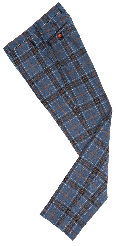 Blue Plaid Overcheck Tweed  3 Piece Suit