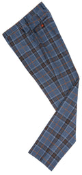 Blue Plaid Overcheck Tweed Trousers
