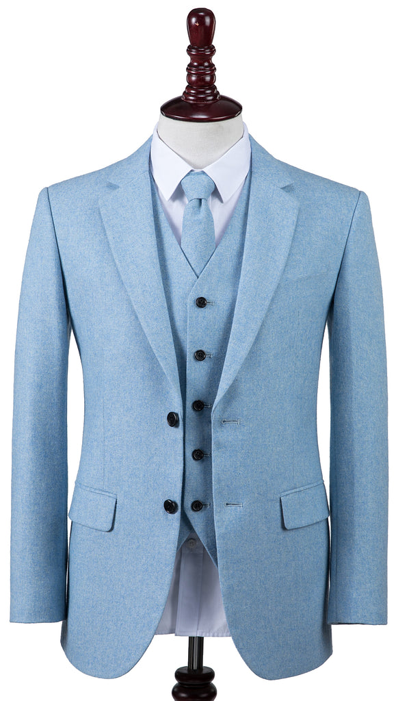 Light Blue Twill Tweed 2 Piece