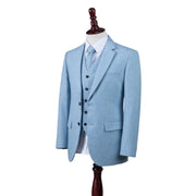 Light Blue Twill Tweed  3 Piece Suit