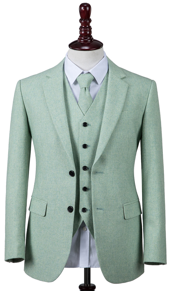 Light Green Twill Tweed 3 Piece