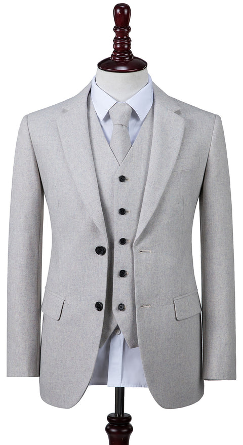 Cream Twill Tweed  3 Piece Suit