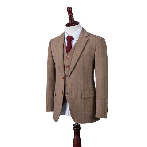 Light Brown Overcheck Herringbone Tweed  3 Piece Suit