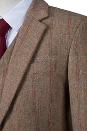 Light Brown Overcheck Herringbone Tweed Jacket
