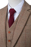 Light Brown Overcheck Herringbone Tweed 2 Piece